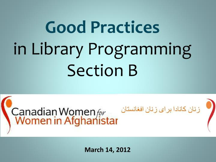 Good practices in library programming section b