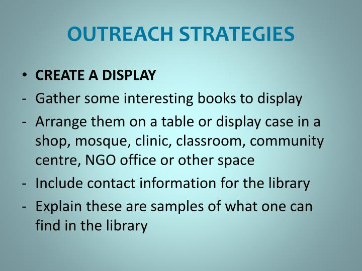 OUTREACH STRATEGIES