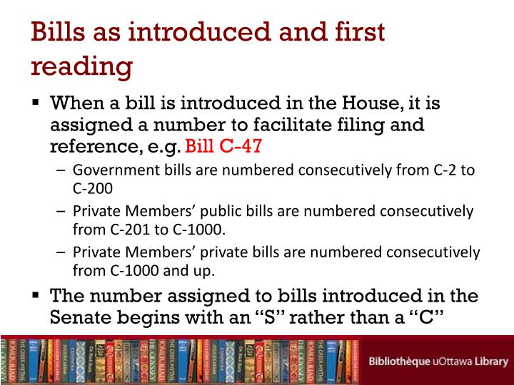 Bills as introduced and first reading
