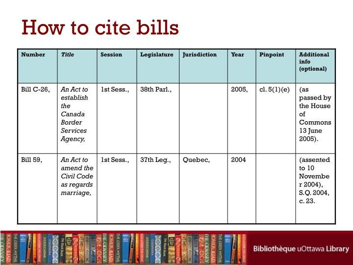 How to cite bills