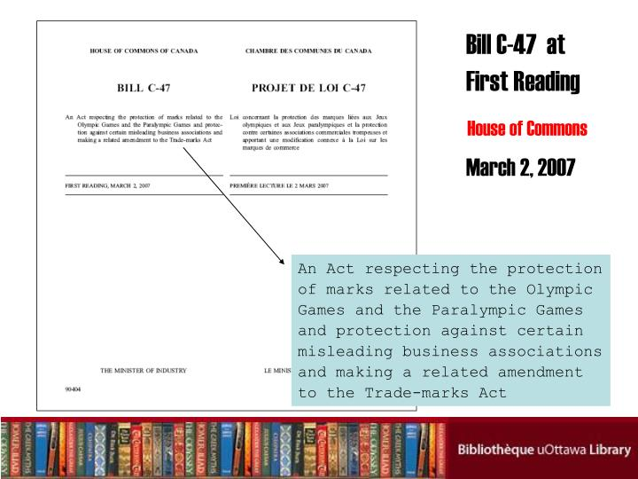 Bill C-47  at First Reading