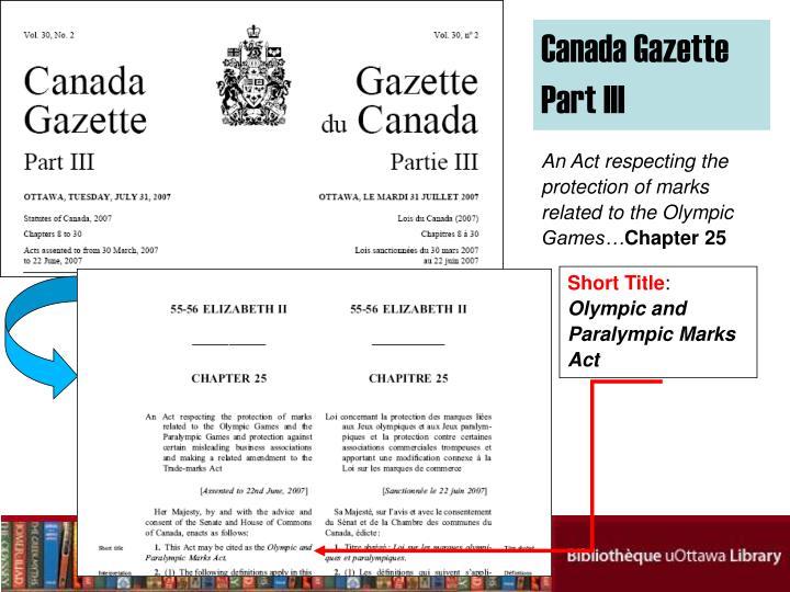 Canada Gazette Part III