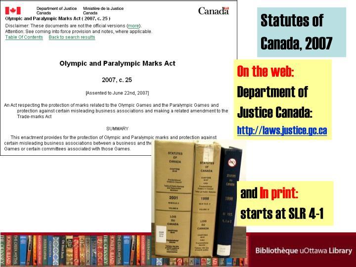 Statutes of Canada, 2007
