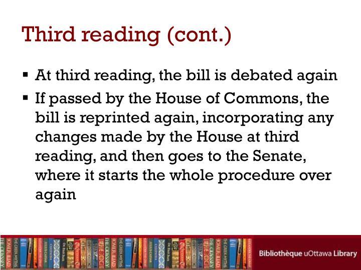 Third reading (cont.)