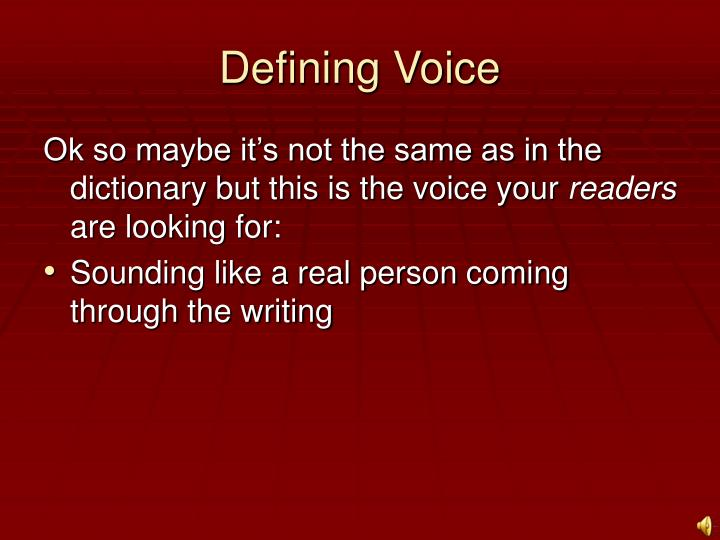 Defining Voice