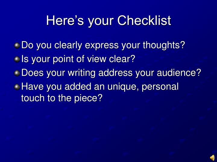 Here's your Checklist