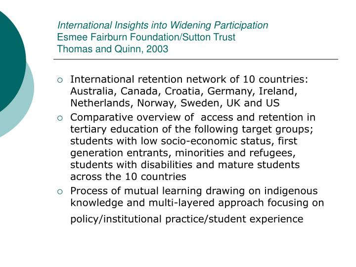 International Insights into Widening Participation