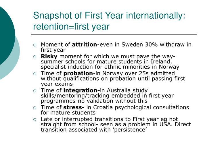 Snapshot of First Year internationally: retention=first year