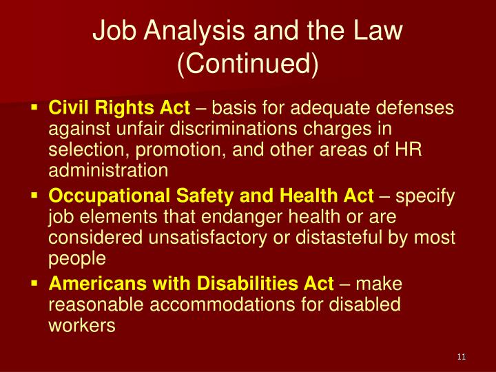 Job Analysis and the Law (Continued)
