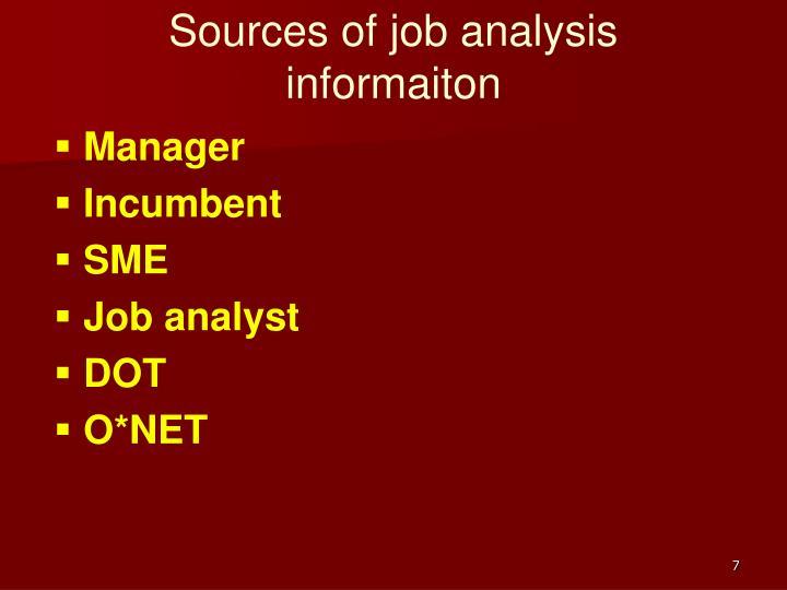 Sources of job analysis informaiton