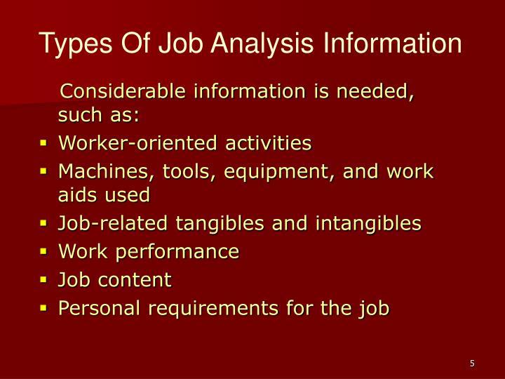 Types Of Job Analysis Information
