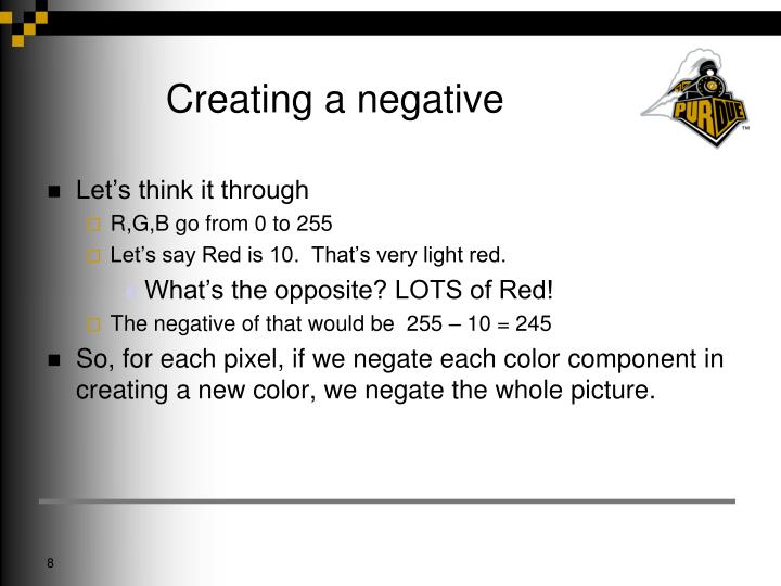 Creating a negative