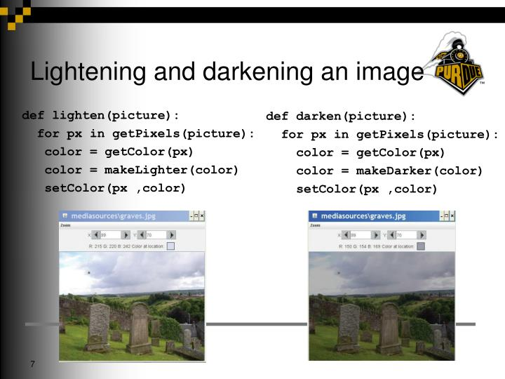 Lightening and darkening an image