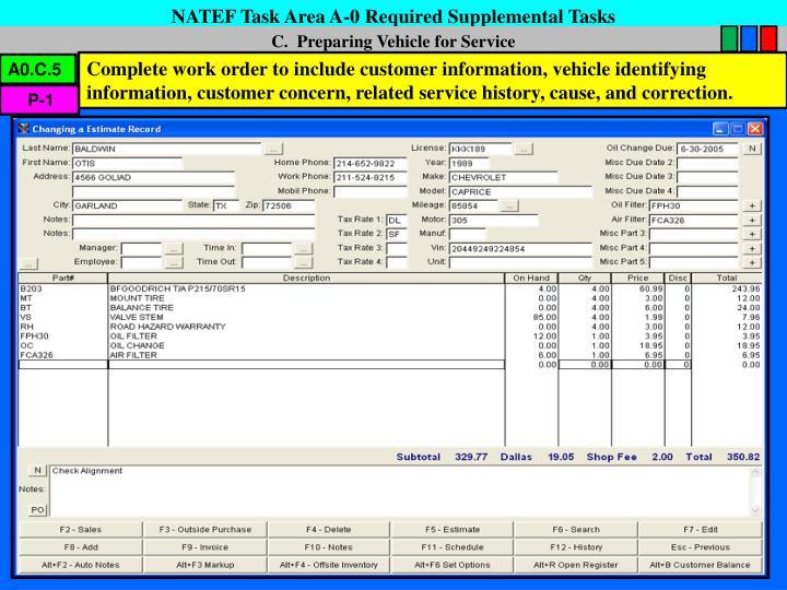 NATEF Task Area A-0 Required Supplemental Tasks