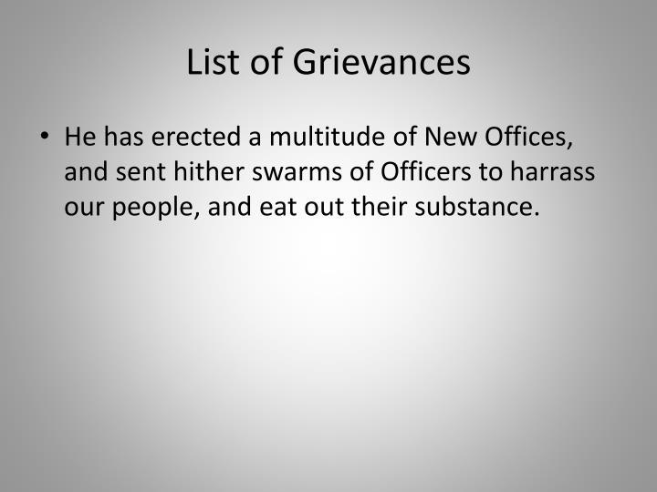 List of Grievances
