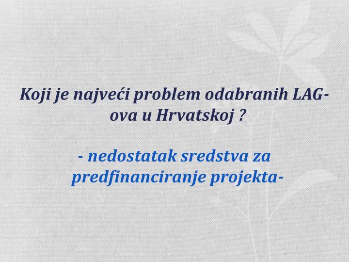 Koji je najveći problem odabranih LAG-ova u Hrvatskoj ?