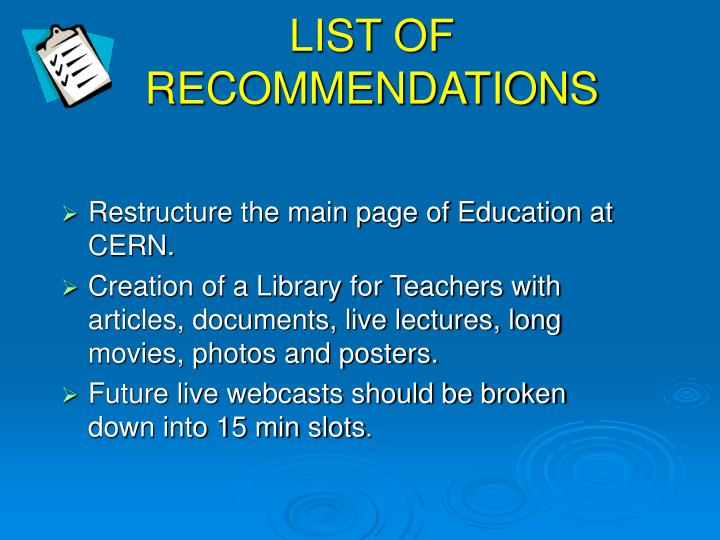LIST OF RECOMMENDATIONS