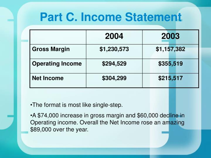 Part C. Income Statement