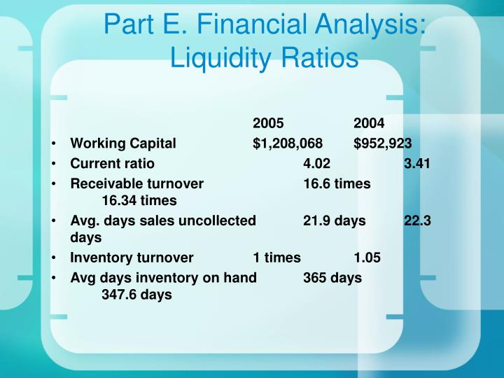 Part E. Financial Analysis: Liquidity Ratios