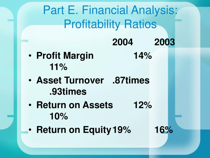 Part E. Financial Analysis: Profitability Ratios