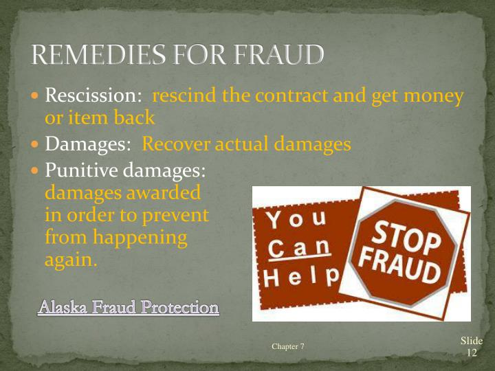 REMEDIES FOR FRAUD