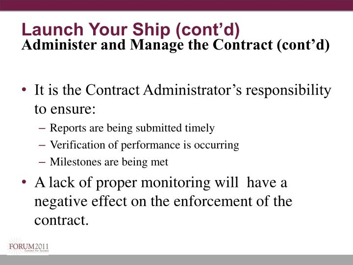 Launch Your Ship (cont'd)