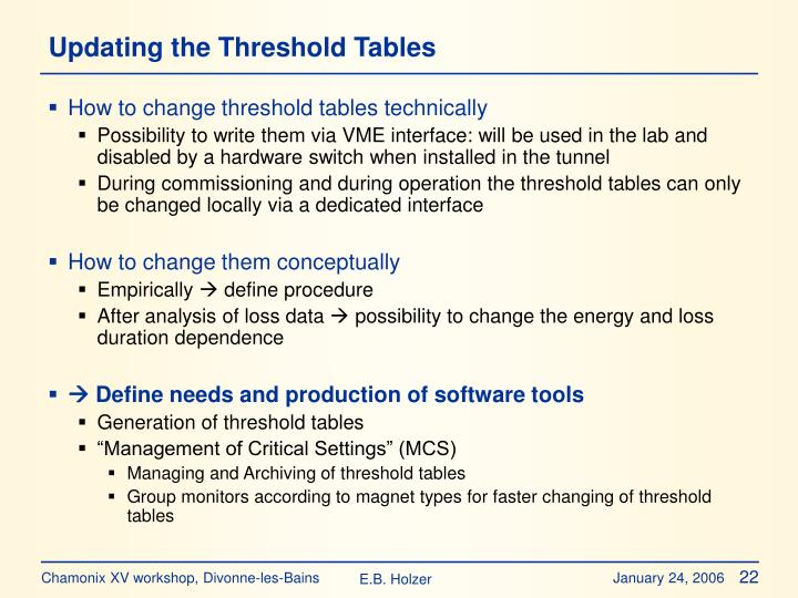 Updating the Threshold Tables