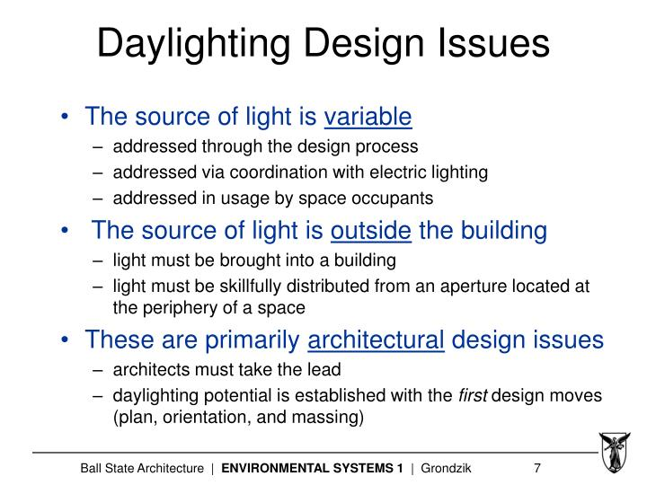 Daylighting Design Issues
