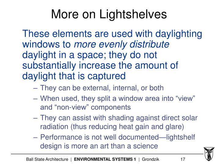 More on Lightshelves