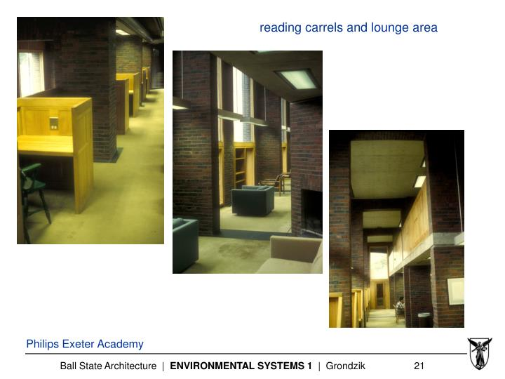 reading carrels and lounge area