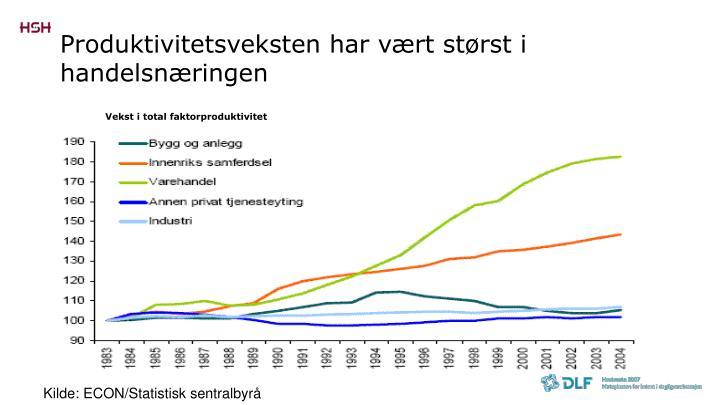 Produktivitetsveksten har vært størst i handelsnæringen
