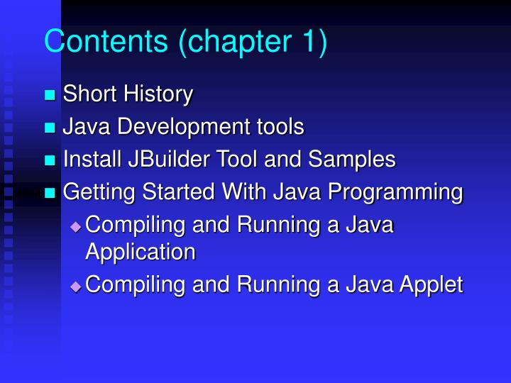 Contents (chapter 1)