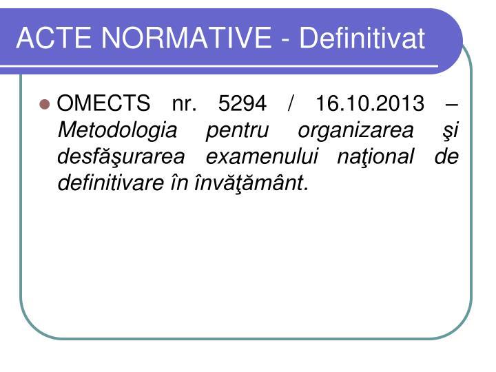 ACTE NORMATIVE - Definitivat