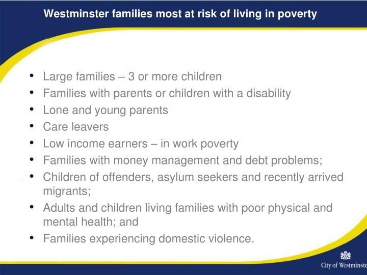 Westminster families most at risk of living in poverty