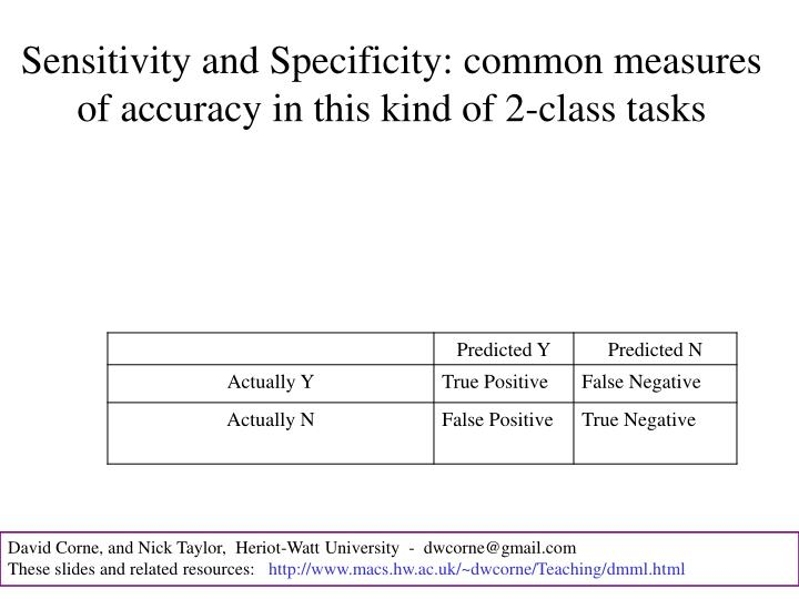 Sensitivity and Specificity: common measures of accuracy in this kind of 2-class tasks