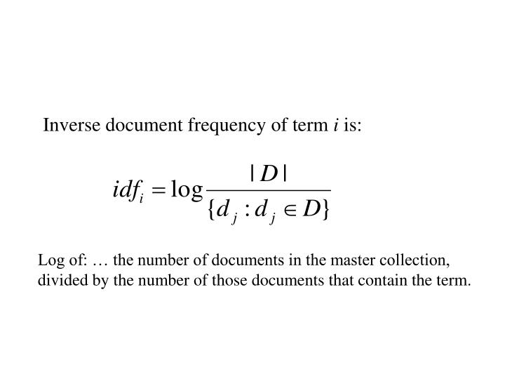 Inverse document frequency of term