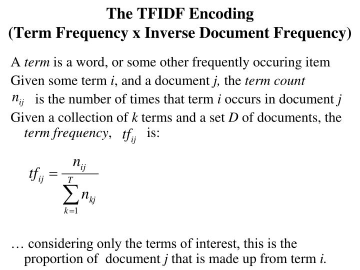 The TFIDF Encoding