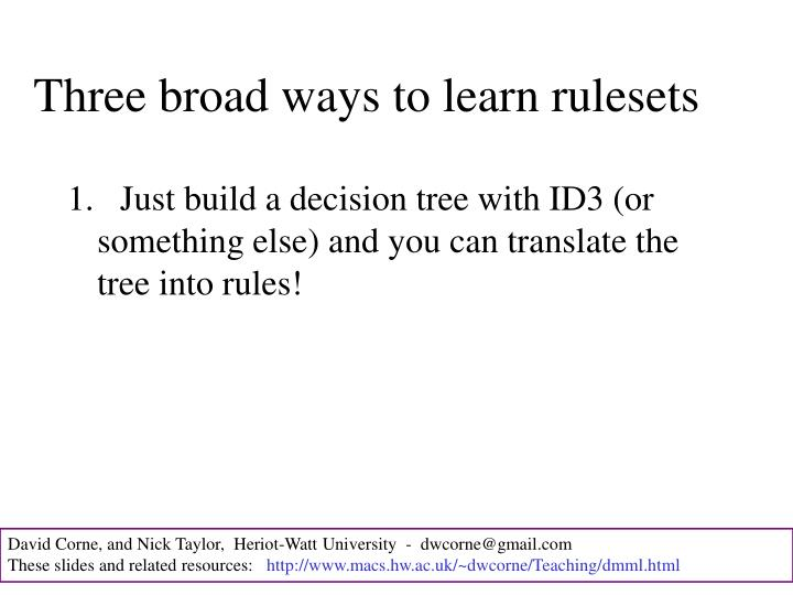 Three broad ways to learn rulesets