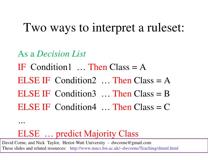 Two ways to interpret a ruleset:
