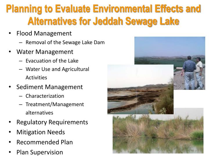 Planning to Evaluate Environmental Effects and Alternatives for Jeddah Sewage Lake
