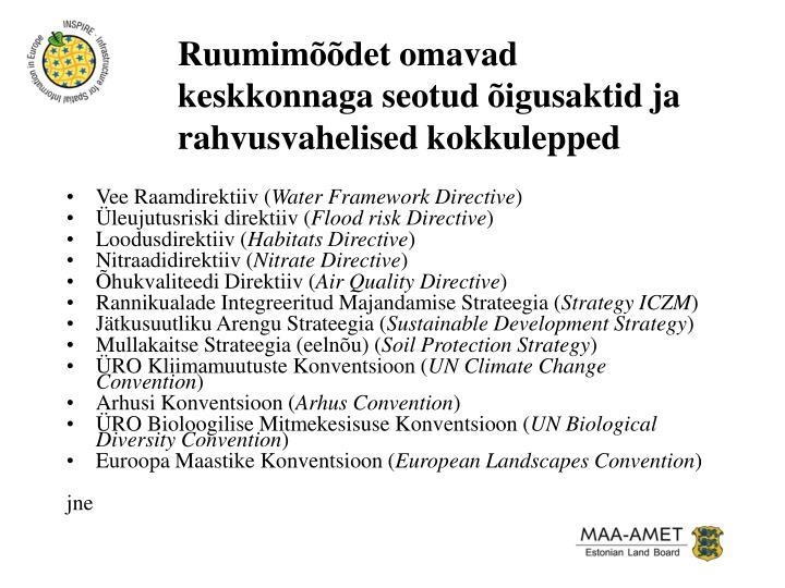 Ruumimõõdet omavad keskkonnaga seotud õigusaktid ja rahvusvahelised kokkulepped
