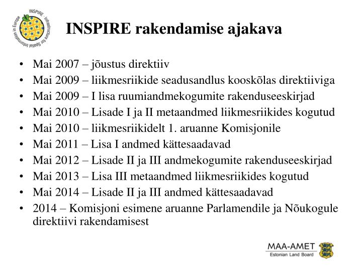 INSPIRE rakendamise ajakava