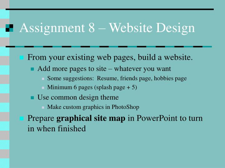 Assignment 8 – Website Design