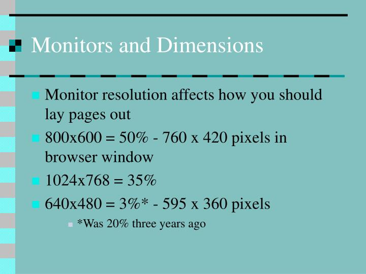 Monitors and Dimensions