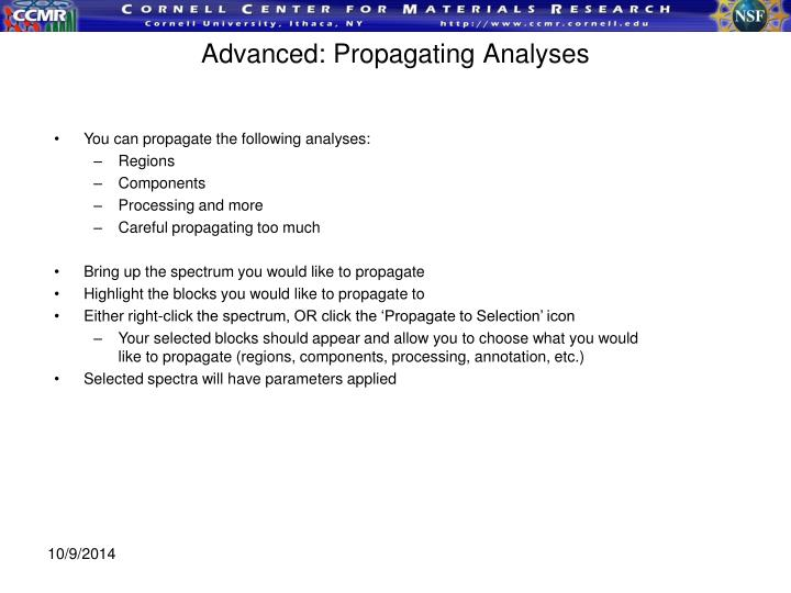 Advanced: Propagating Analyses