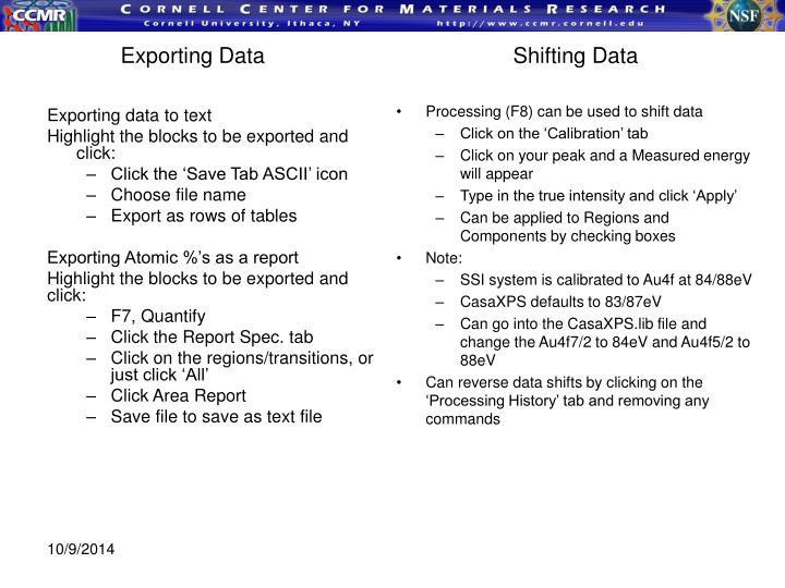 Exporting DataShifting Data