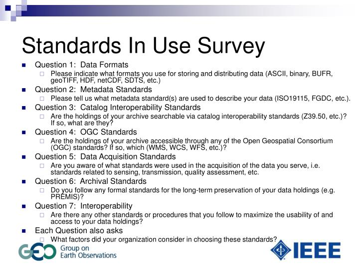 Standards In Use Survey