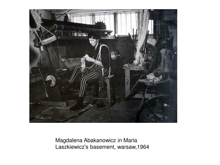 Magdalena Abakanowicz in Maria Laszkiewicz's basement, warsaw,1964