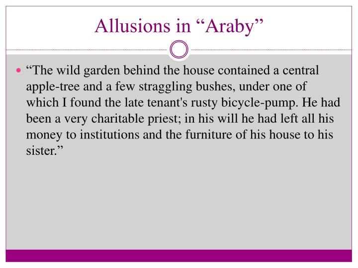 Allusions in araby