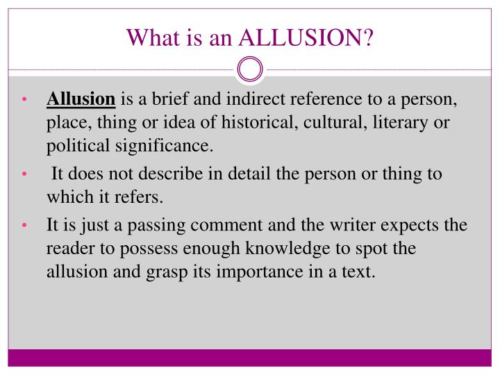 What is an allusion